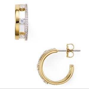 NWT Small Crystal Trio Hoop Earrings